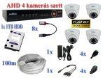 4 kamerás AHD 1080P FULLHD AHD dome kamera rendszer szett