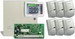 DSC PC1864NKE riasztórendszer központ fém dobozzal + DSC PTK5507 érintőképernyős kezelő + 6 db DSC LC100 mozgásérzékelő