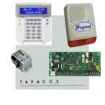 Paradox SP4000 riasztórendszer dobozzal, K32 LCD+ szöveges kezelő, 30VA táp, PS128 kültéri sz