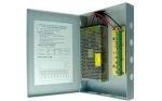 Eonboom EN-PSU9CH10A kamera tápegység 12VDC 10A, 9db sorkapocs kimenet, falra szerelhető, fém doboz