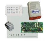 Paradox SP4000 riasztórendszer dobozzal, K10H kezelő, 30VA táp, PS128 kültéri sziréna