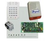 Paradox SP4000 riasztórendszer dobozzal, K10V kezelő, 30VA táp, PS128 kültéri sziréna