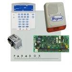 Paradox SP4000 riasztórendszer dobozzal, K35LCD FIX! szöveges kezelő, 30VA táp, PS128 kültér