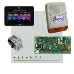 Paradox SP4000 riasztórendszer dobozzal, fekete TM50 érintőképernyős kezelő, 30VA táp, PS128