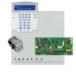 Paradox SP5500 riasztó dobozzal, a kezelővel HIBRID rádiós, K32LX RÁDIÓS szöveges kezelő, 30VA táp