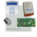 Paradox SP5500 riasztó dobozzal, a kezelővel HIBRID rádiós, K32LX RÁDIÓS kezelő, 30VA táp, PS128