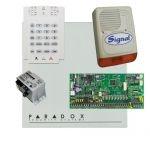 Paradox SP6000 riasztórendszer dobozzal, K10V kezelő, 45VA táp, PS128 kültéri sziréna