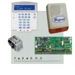 Paradox SP6000 riasztó dobozzal, a kezelővel HIBRID rádiós, K32LX RÁDIÓS szöveges kezelő, 45VA tápeg