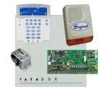 Paradox SP6000 riasztórendszer dobozzal, K35LCD FIX! szöveges kezelő, 45VA táp, PS128 szirén