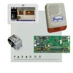 Paradox SP6000 riasztó dobozzal, fehér TM50 érintőképernyős kezelő, 45VA táp, PS128 szir