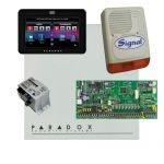 Paradox SP6000 riasztó dobozzal, fekete TM50 érintőképernyős kezelő, 45VA táp, PS128 szir