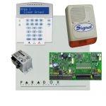 Paradox SP7000 riasztórendszer dobozzal, K32 LCD+ szöveges kezelő, 45VA táp, PS128 kültéri sz