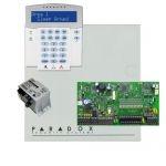 Paradox SP7000 riasztó dobozzal, a kezelővel HIBRID rádiós, K32LX RÁDIÓS szöveges kezelő, 45VA táp
