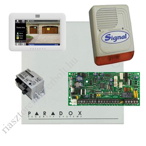 Paradox SP4000 riasztórendszer dobozzal, TM50 érintőképernyős kezelő, 30VA táp, PS128 szirén