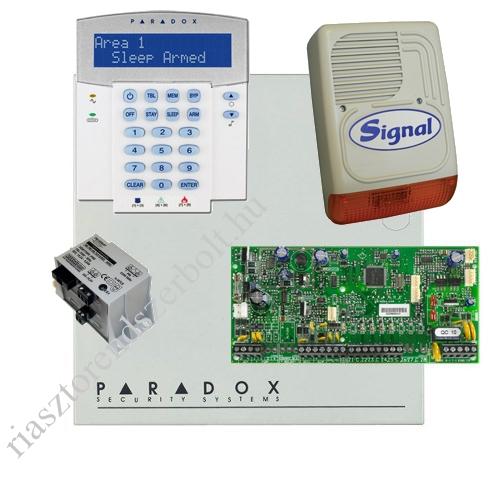 Paradox SP5500 riasztó dobozzal, a kezelővel HIBRID rádiós, K32LX RÁDIÓS kezelő, 45VA táp, PS128