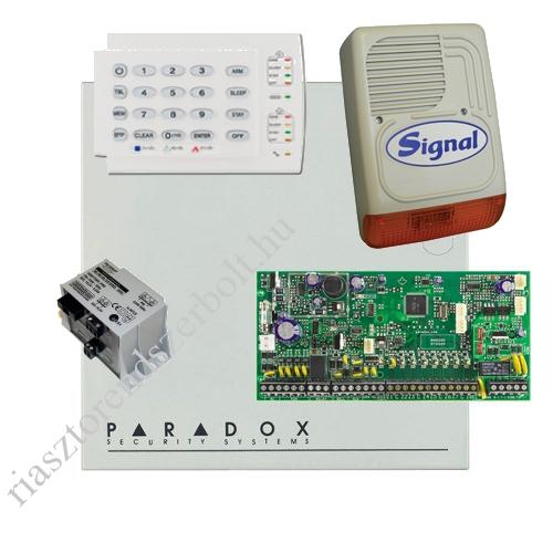 Paradox SP6000 riasztórendszer dobozzal, K10H kezelő, 45VA táp, PS128 kültéri sziréna