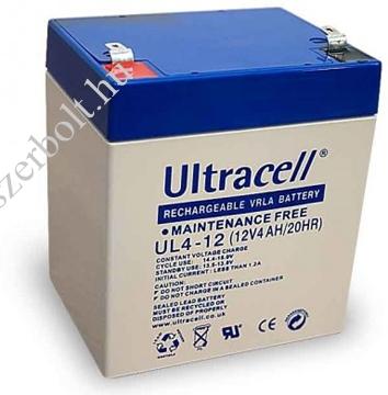 ULTRACELL 12V 4Ah zselés biztonságtechnikai, riasztórendszer akkumulátor, riasztó akku